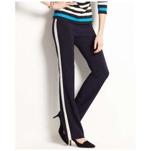 ANN TAYLOR Navy Tuxedo Stripe Trouser Pants sz 0